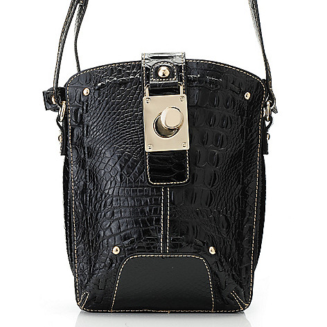 713-582 - Madi Claire Croco Embossed Leather & Snake Print Organizer Cross Body Bag