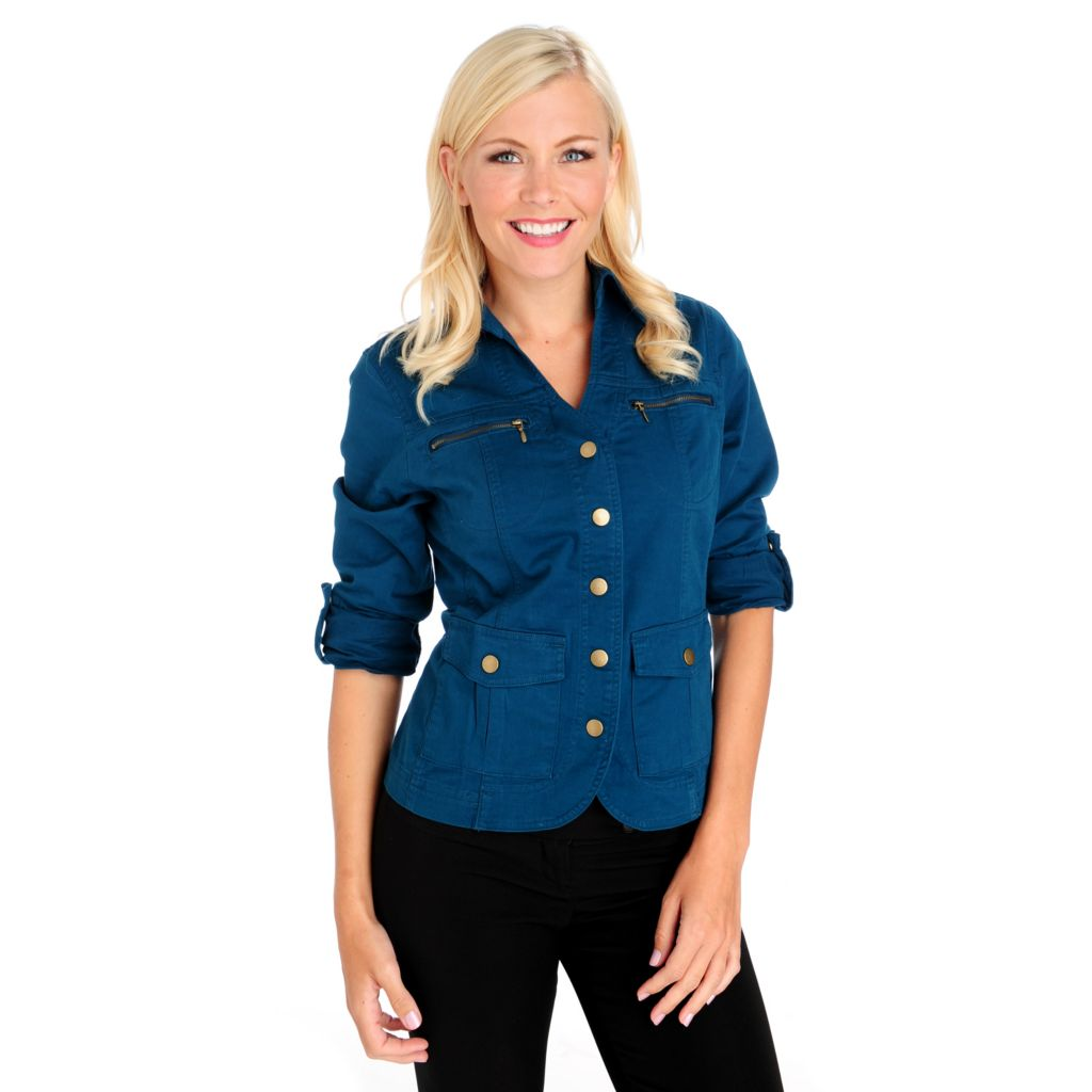 713-603 - OSO Casuals Stretch Twill Roll Tab Sleeved Curved Hem Safari Jacket