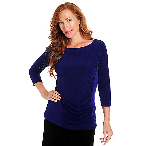713-606 - Affinity Travel Knits™ Scoop Neck 3/4 Sleeved Side Ruched Top