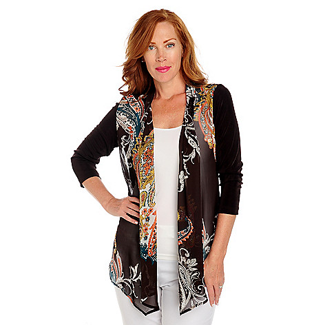713-613 - Affinity Travel Knits™ 3/4 Sleeved Sheer Print Front Open Cardigan Sweater