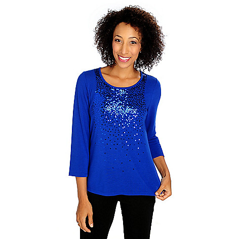 713-626 - Glitterscape Sweater Knit 3/4 Sleeved Scattered Sequin Shirttail Hem Top
