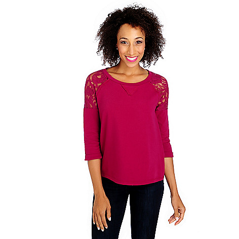 713-627 - OSO Casuals French Terry 3/4 Sleeved Lace Shoulder Top