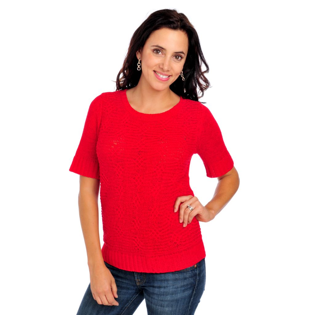 713-630 -  OSO Casuals Tape Yarn Elbow Sleeved Scoop Neck Pullover Sweater