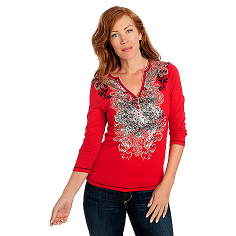 713-631 - Glitterscape Stretch Henley 3/4 Sleeved Three-Button Embellished Top
