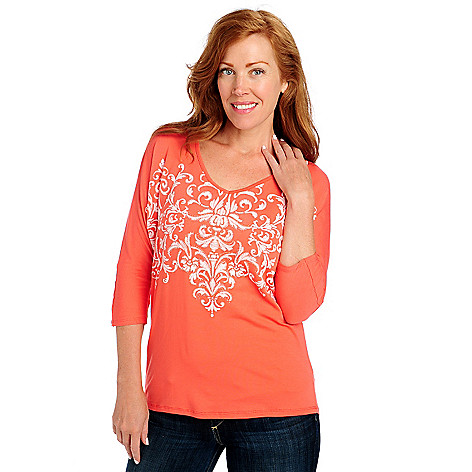 713-635 - OSO Casuals Stretch Knit Dolman Sleeved V-Neck Embellished Top