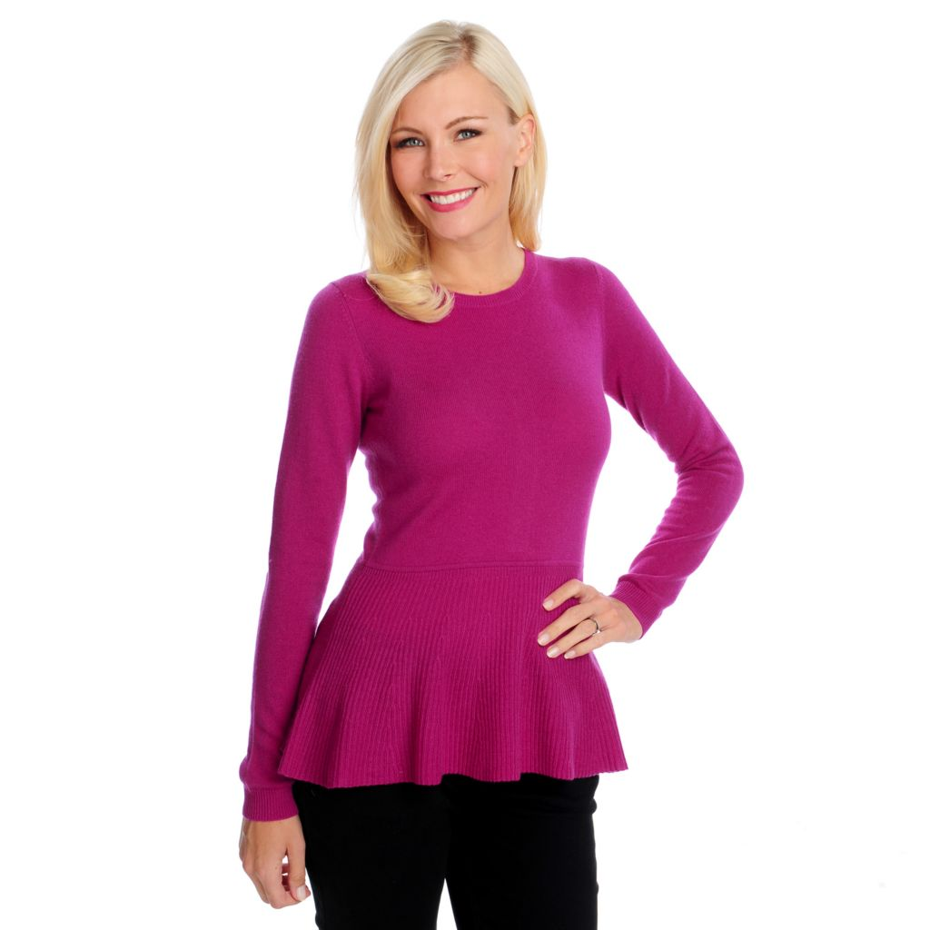 713-637 - Kate & Mallory Two-Ply 100% Cashmere Button Back Peplum Sweater