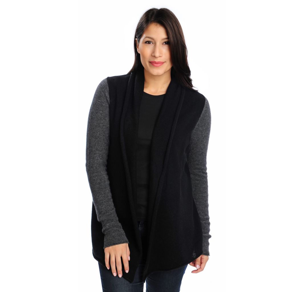 713-639 - Kate & Mallory Two-Ply 100% Cashmere Open Front Shawl Cardigan Sweater