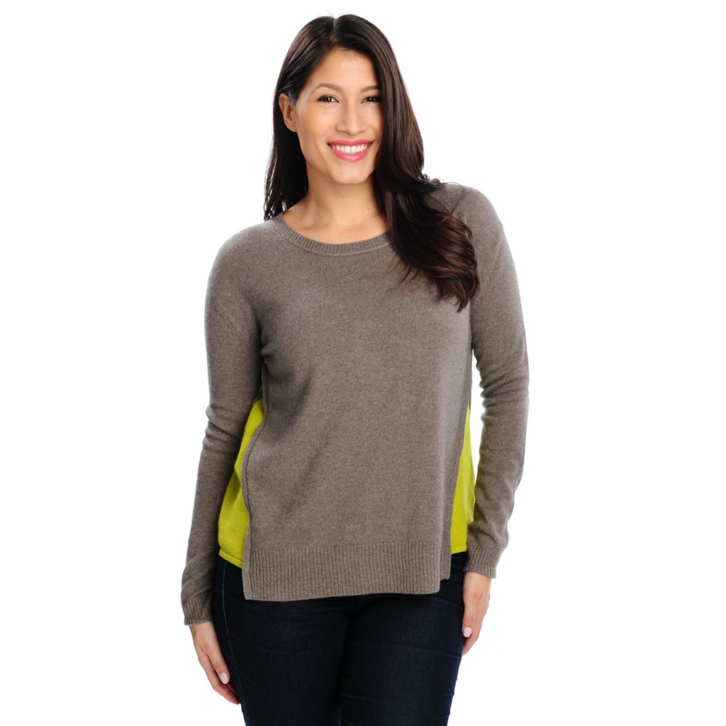 713-640 - Kate & Mallory Two-Ply 100% Cashmere Uneven Hem Sweater