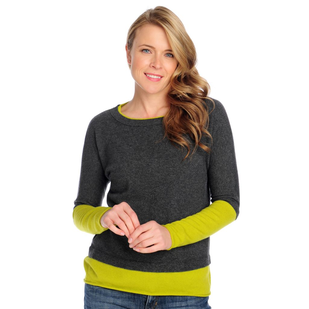 713-642 - Kate & Mallory Two-Ply 100% Cashmere Color Block Pullover Sweater