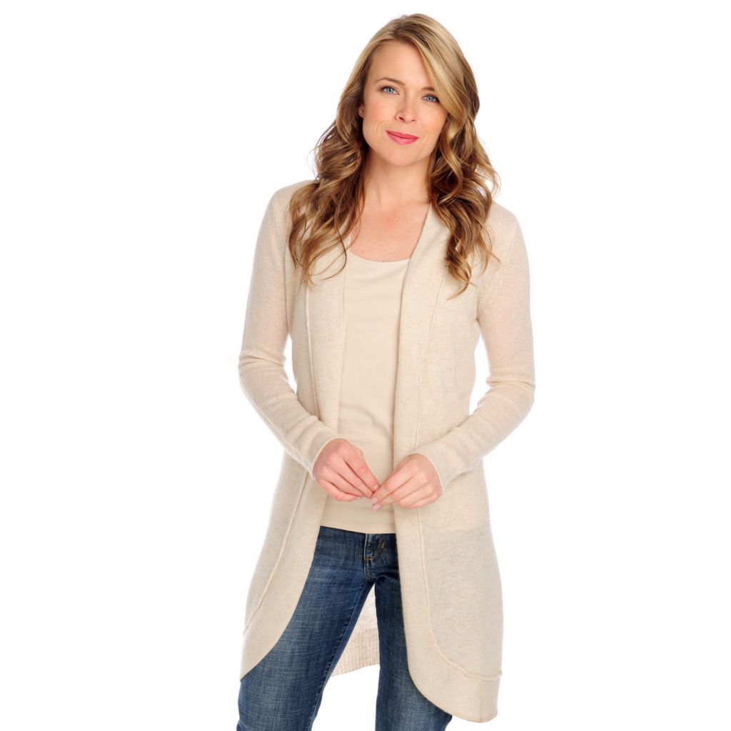 713-643 - Kate & Mallory Two-Ply 100% Cashmere Open Front Cardigan Sweater