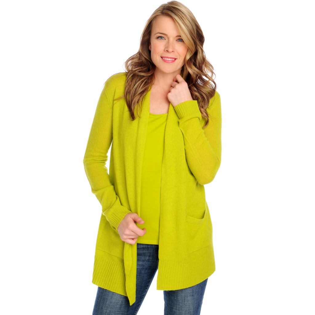 713-645 - Kate & Mallory Two-Ply 100% Cashmere Long Sleeved Drape Front Cardigan