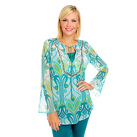 713-702 - Kate & Mallory® Printed Chiffon Bell Sleeved Embellished Tunic w/ Layering Cami
