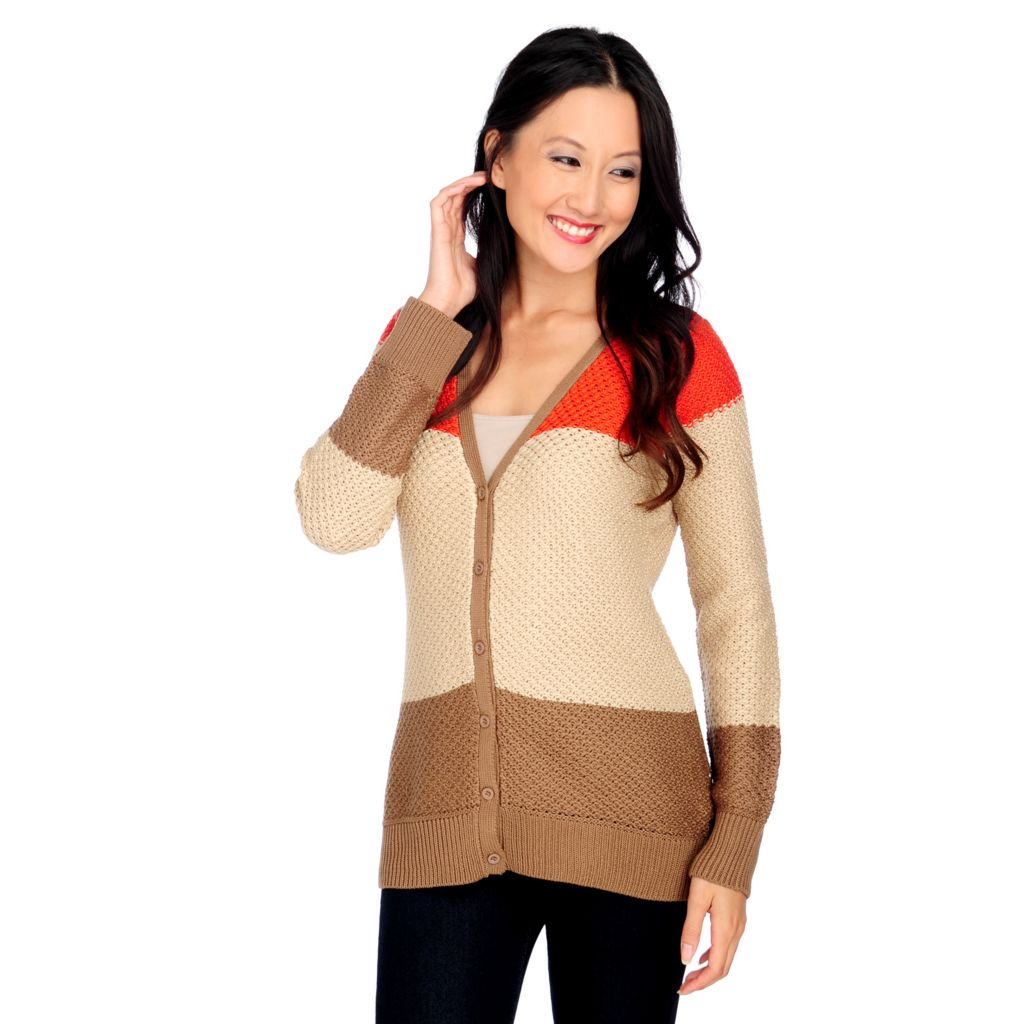 713-717 - OSO Casuals Textured Stitch Long Sleeved Color Block Sweater Cardigan