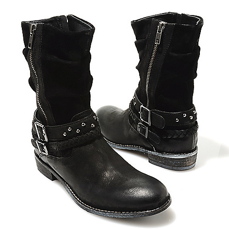 713-728 - Matisse® Leather Slouchy Braid, Stud & Buckle Detailed Mid-Height Boots