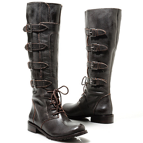 713-730 - Matisse® Leather Buckle Detailed Military-Inspired Tall Boots