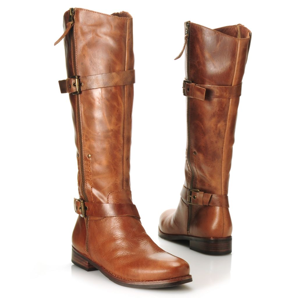 713-731 - Matisse® Leather Buckle & Belt Detailed Side Zip Tall Boots