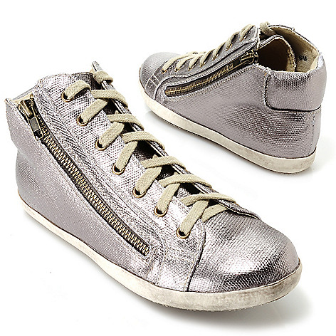 713-746 - Matisse® Metallic Lace-up Zipper Detailed Mid-top Sneakers