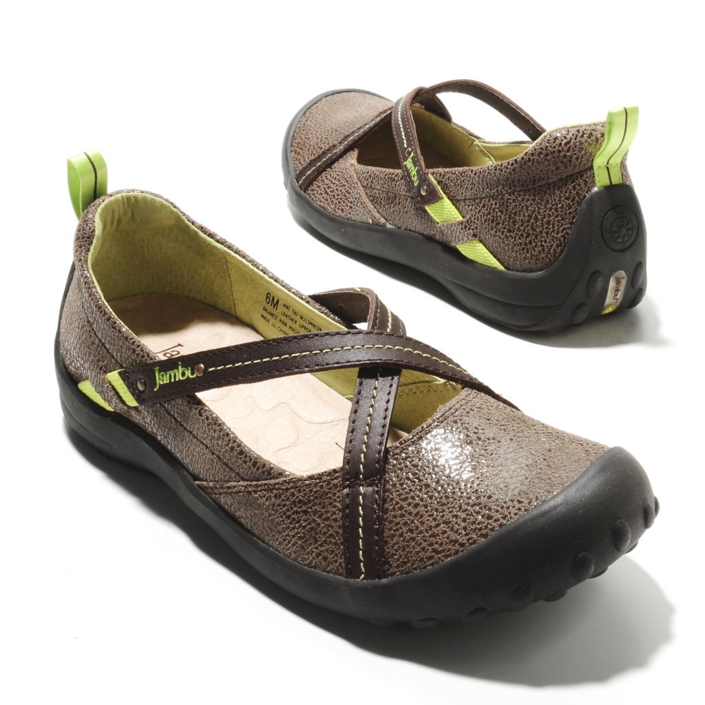 713-764 - Jambu Leather Crackle Design Crisscross Flats