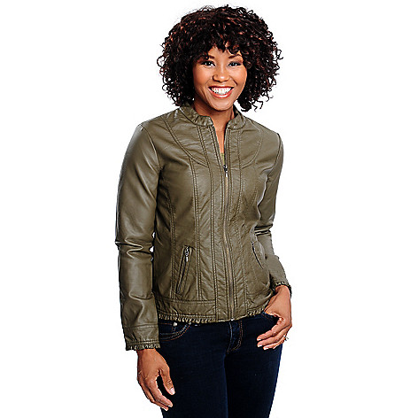 713-783 - OSO Casuals Faux Leather Long Sleeved Zip Front Ruffle Trim Jacket
