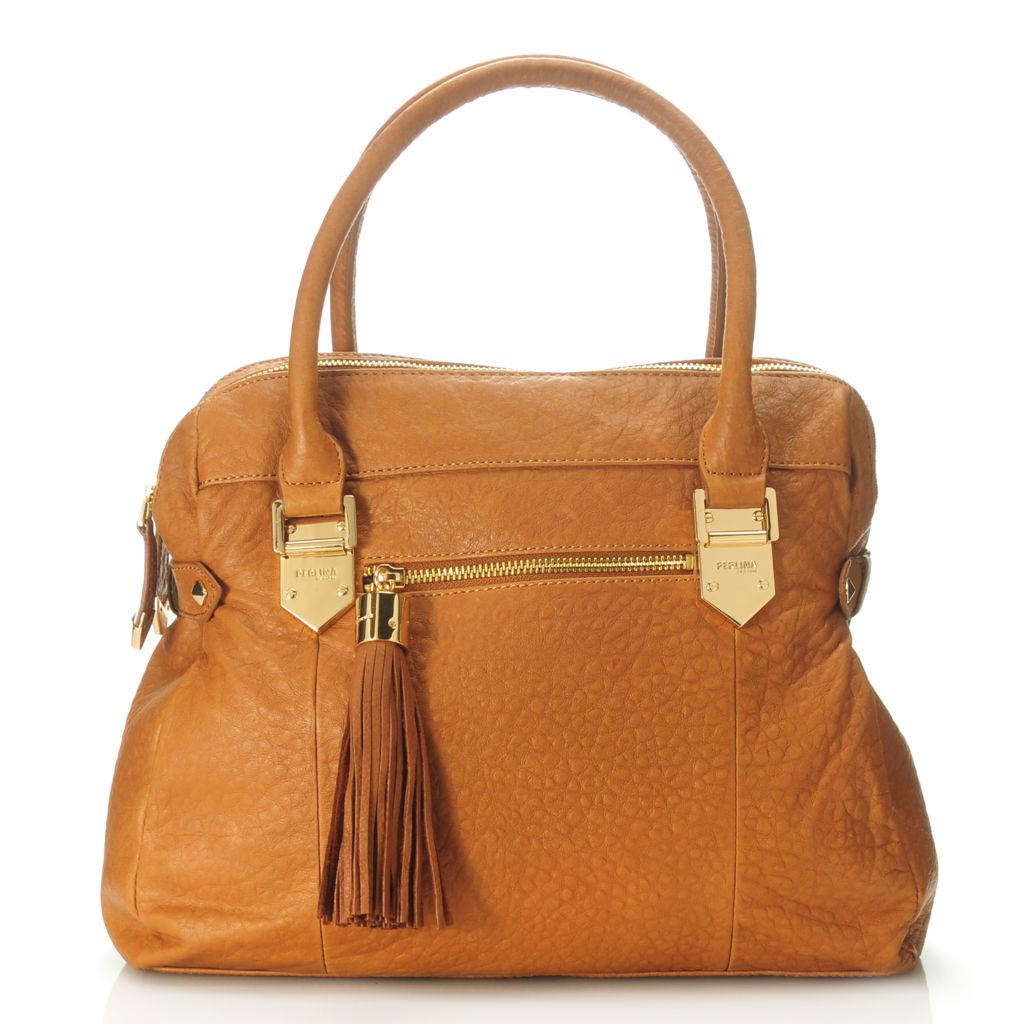 713-787 - Perlina Textured Leather Tasseled Double Handle Dual Compartment Satchel w/ Strap