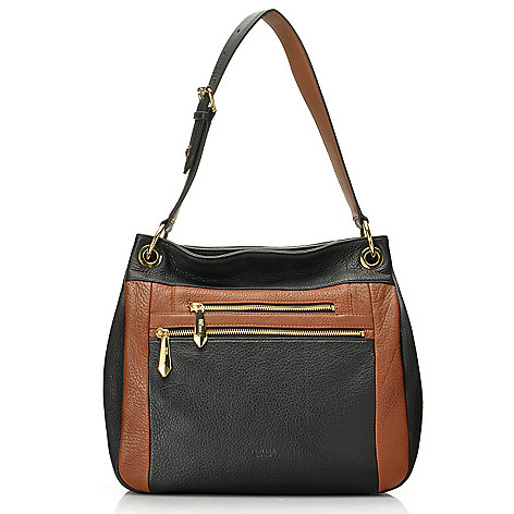 713-789 - Perlina Pebble Leather Color Block Bucket Bag