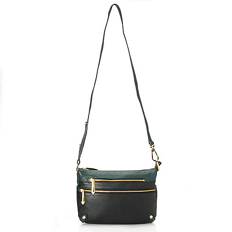 713-790 - Perlina Pebble Leather Color Block Convertible Cross Body Bag