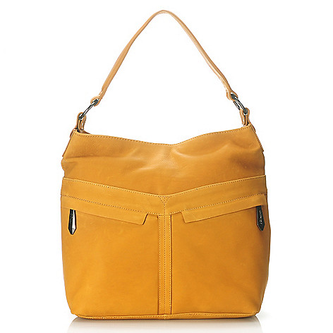 713-791 - Perlina Natural Leather Zip Top Bucket Bag