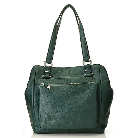 713-793 - Perlina New York Pebbled Leather Double Handle Gathered Tote Bag