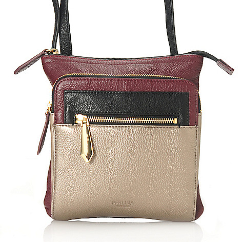 713-797 - Perlina New York Pebbled Leather Color Block Cross Body Bag