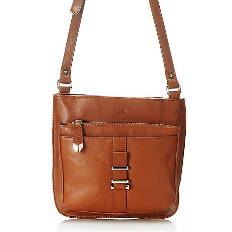 713-801 - Perlina New York Pebbled Leather Zip Top Large Cross Body Bag