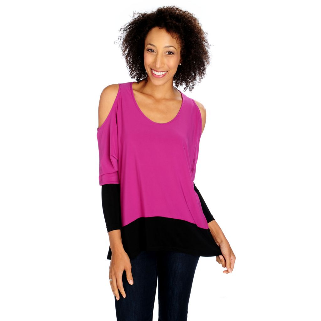 713-804 -  Kate & Mallory Micro Jersey Long Sleeved Cold Shoulder Hi-Lo Top