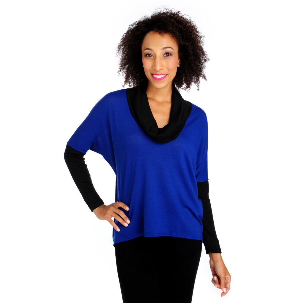 713-808 - Kate & Mallory Sweater Knit Cowl Neck Dolman Sleeved Color Block Tunic