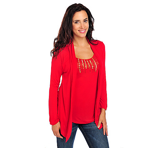 713-848 - Glitterscape Stretch Knit 3/4 Sleeved Embellished Neck Two-fer Cardigan