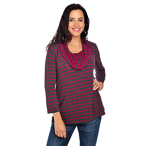 713-851 - OSO Casuals Stretch Knit 3/4 Sleeved Cowl Neck Striped Sweater