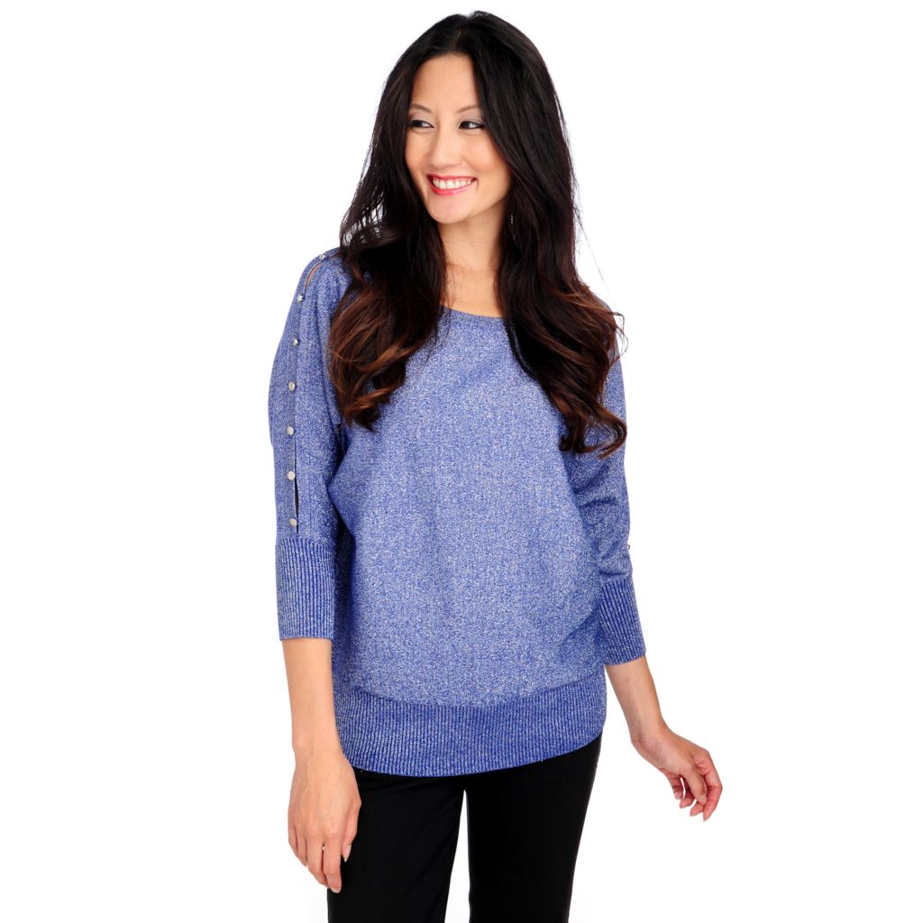 713-854 - Glitterscape Metallic Knit Dolman Sleeved Button Detail Sweater