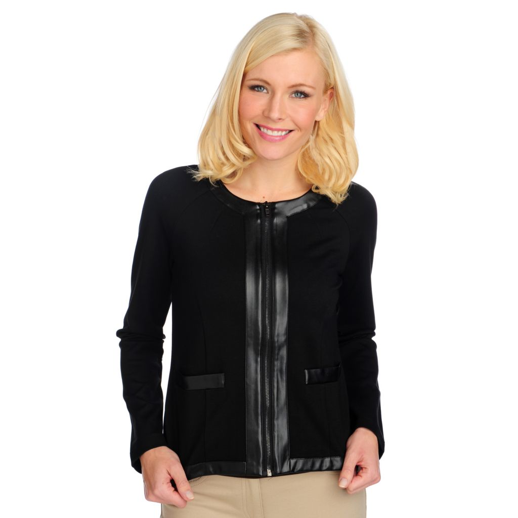 713-858 - Kate & Mallory Ponte Knit Long Sleeved Faux Leather Trim Zip Front Jacket