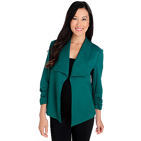 713-859 - Kate & Mallory Ponte Knit Ruched Sleeve Open Front Jacket