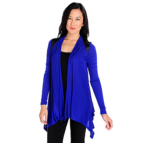 713-861 - Kate & Mallory Stretch Knit Long Sleeved Faux Leather Combo Cascade Cardigan