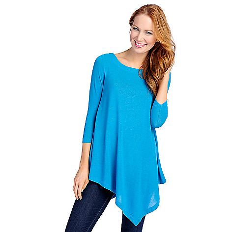 713-862 - Kate & Mallory® Stretch Knit 3/4 Sleeved Scoop Neck Uneven Hem Top