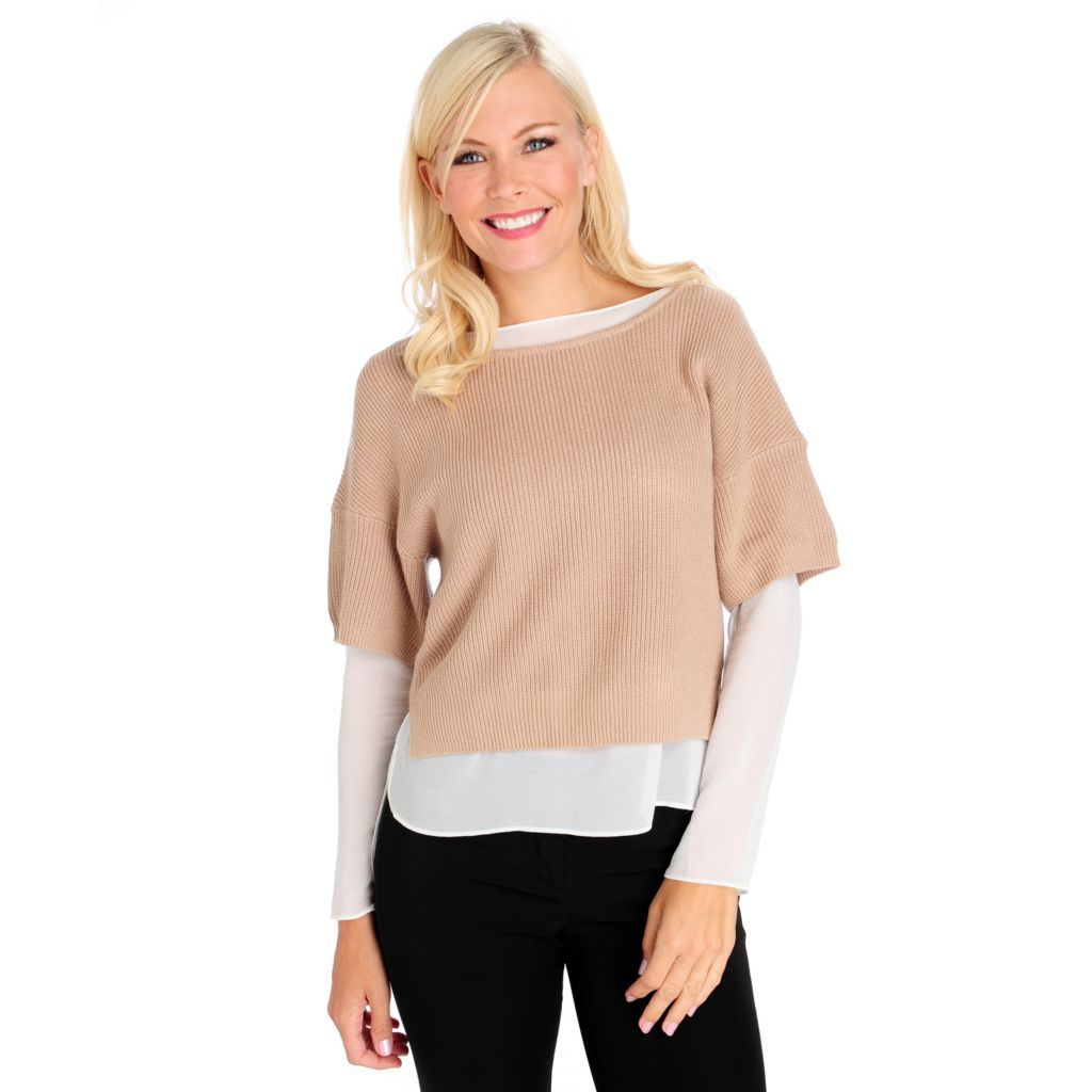 713-863 - Kate & Mallory Woven Knit Combo 3/4 Dolman Sleeved Sweater & Blouse One-Piece Top