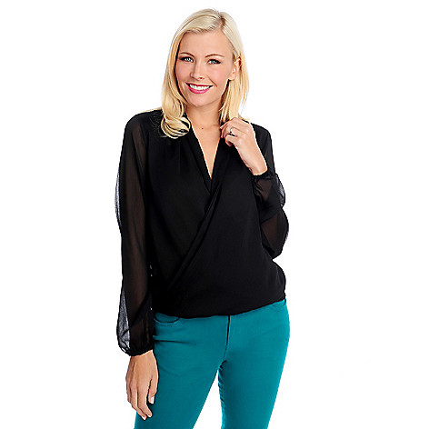 713-864 - Kate & Mallory Yoryu Blouson Sleeved Wrap Front Pullover Top