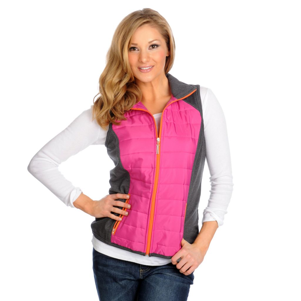 713-869 - OSO Casuals French Terry Quilted Two-Tone Zip Front Vest