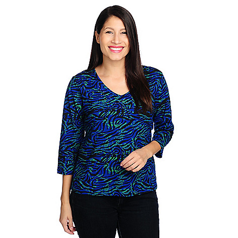713-870 - OSO Casuals Stretch Knit 3/4 Sleeved Embellished Zebra Print Top