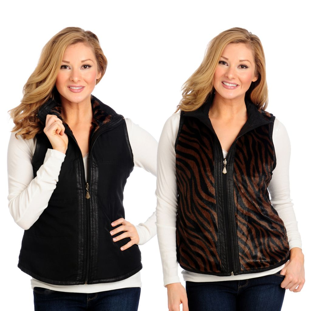713-872 - OSO Casuals Quilted Reversible Animal Print Zip Front Vest