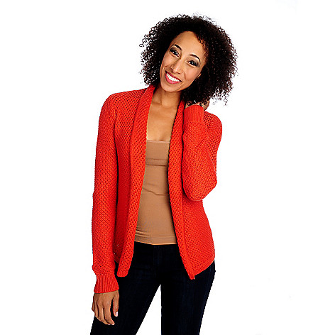 713-875 - OSO Casuals Textured Knit Long Sleeved One-Button Cardigan Sweater