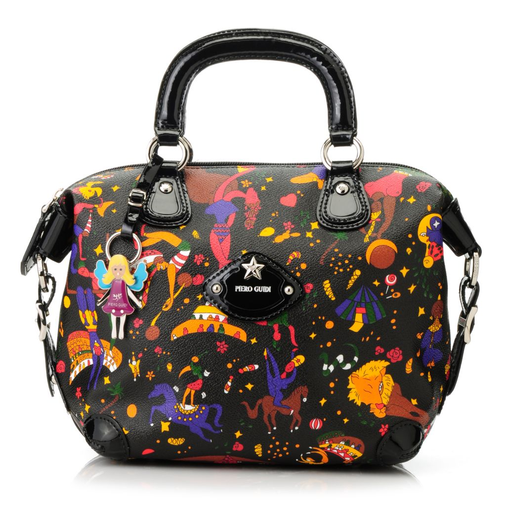 713-885 - Piero Guidi Soft Coated Canvas & Patent Magic Circus Collection Satchel