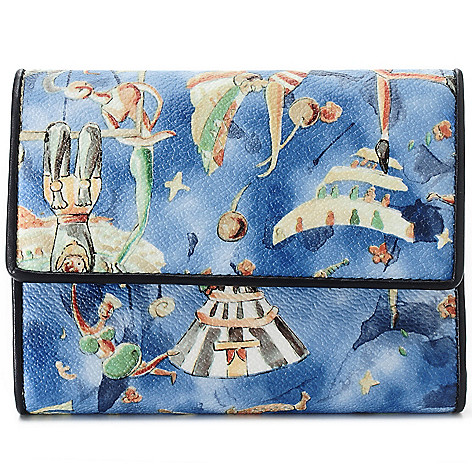713-887 - Piero Guidi Coated Canvas Magic Circus Cherie Collection Tri-Fold Wallet