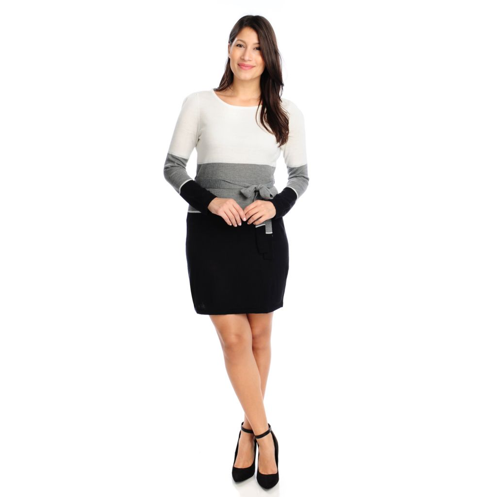 713-892 - Kate & Mallory Sweater Knit Long Sleeved Self Belted Color Block Dress