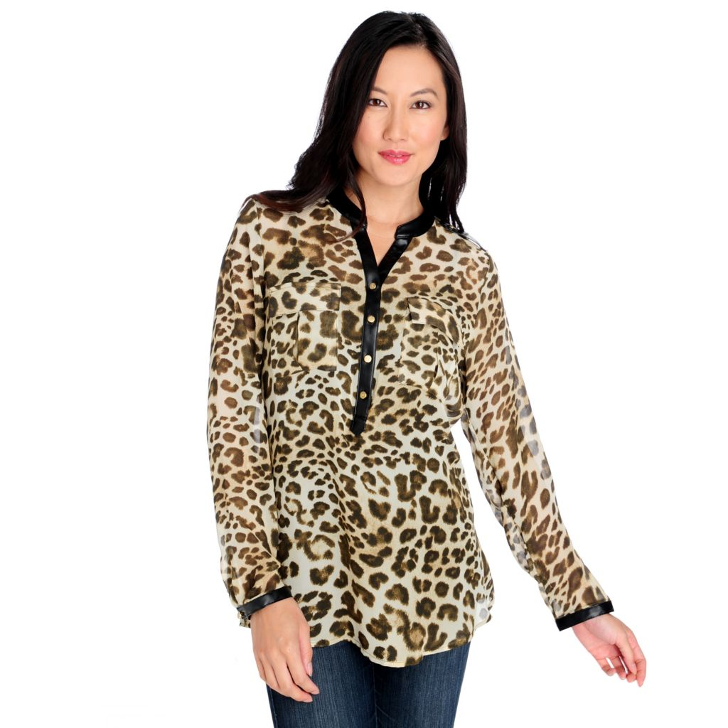 713-901 - Kate & Mallory Chiffon Long Sleeved Faux Leather Trim Animal Print Top