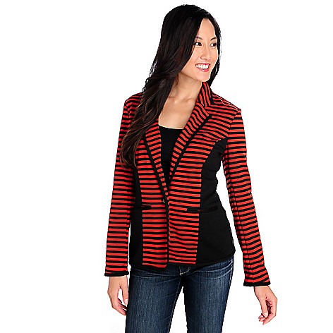 713-904 - Kate & Mallory Ponte Knit One-Button Two-Pocket Striped Blazer